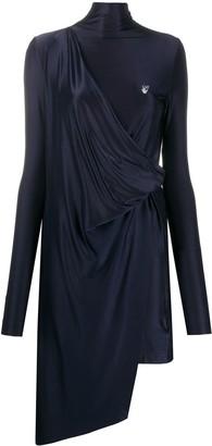 Off-White Jersey Drape Short Dress Blue Grey