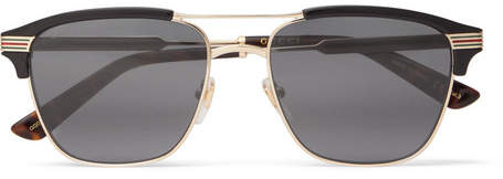 Gucci Endura Square-Frame Acetate And Gold-Tone Sunglasses