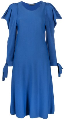 Alberta Ferretti Ruffled Long-Sleeved Midi Dress