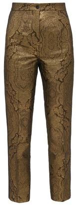 Etro Bristol Brocade Slim-leg Trousers - Womens - Gold