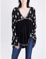 Free People Diamond-embroidered gauze tunic top