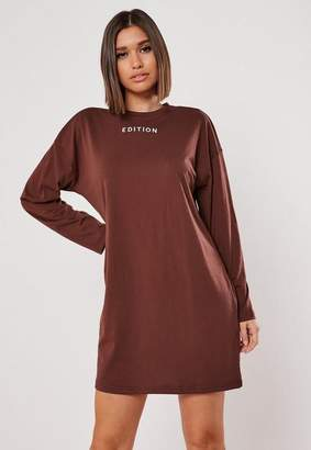 Missguided Brown Embroidered Graphic Oversized T Shirt Dress