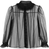 Simone Rocha Feather-trimmed Ruffled Tulle Blouse - Black