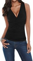 Pink Wind PinkWind Women's V Neck Ruched Twisted Front Sleeveless Shirt Tank Tops Black XL