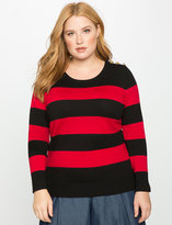 ELOQUII Plus Size Striped Crew Neck Sweater