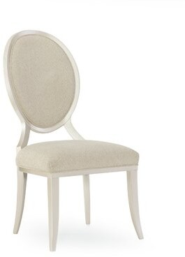 Avondale Brushed Tweed Round Back Upholstered Dining Chair (Set of 2) Caracole Compositions