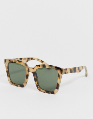 ASOS DESIGN square sunglasses in milky tort