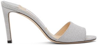 Jimmy Choo Silver Stacy 85 Mules