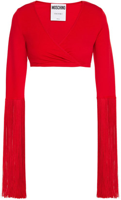 Moschino Cropped Fringed French Terry Top