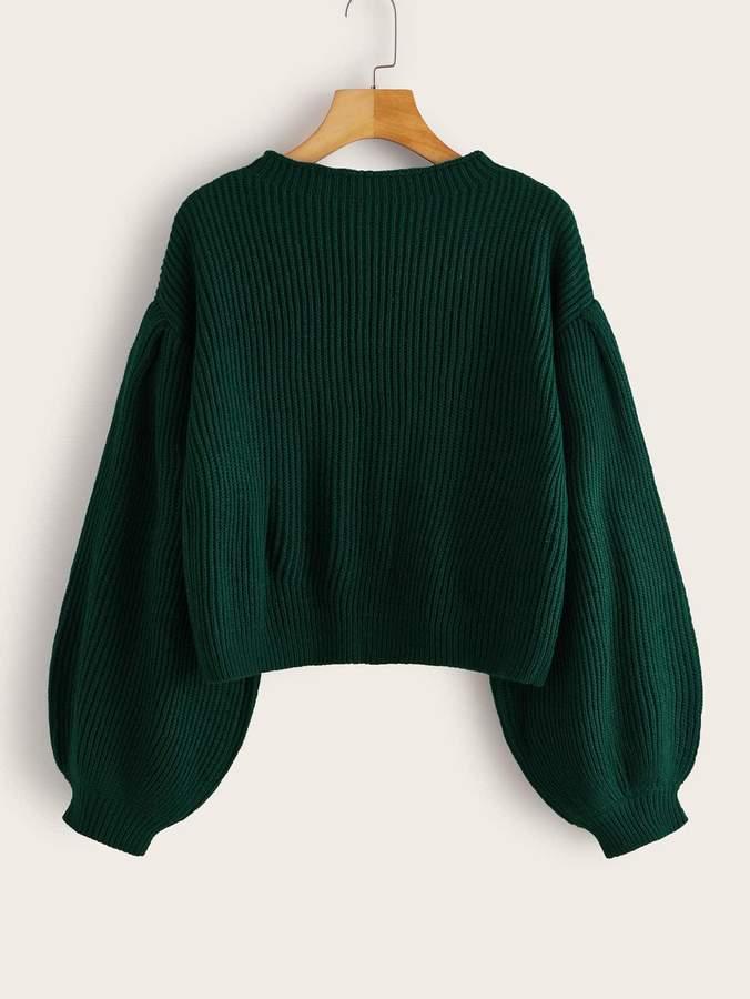 Romwe Solid Drop Bishop Sleeve Sweater