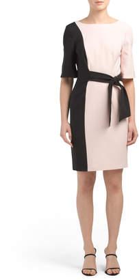 Color Block Side Tie Sheath Dress