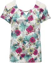 M&Co Lace shoulder floral top