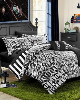Chic Home Lyon Geometric & Striped Printed Reversible Comforter Set