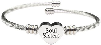 Solid Stainless Steel Heart Cable Bracelet by Pink Box SOUL SISTERS