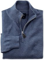 Charles Tyrwhitt Blue Cotton Cashmere Zip Neck Cotton/cashmere Sweater Size XS