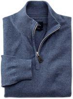 Blue Cotton Cashmere Zip Neck Jumper Size Xs By Charles Tyrwhitt