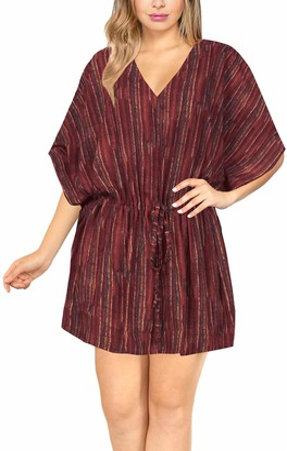 LA LEELA Bathing Suit Cover Up Women 3/4 Sleeve Deep V Neck Beach Coverups Maroon_N209 UK: 16(L)-30(3XL)