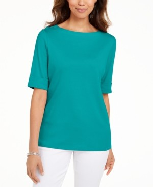 Karen Scott Boat-Neck Elbow-Sleeve Top, Created for Macy's
