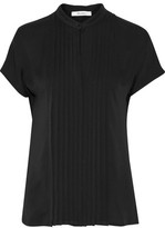 Max Mara Pleated Paneled Silk Crepe De Chine And Jersey Top
