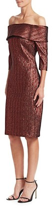 Teri Jon Metallic Off-The-Shoulder Dress