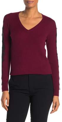 Sofia Cashmere Scalloped Lace Trim Cashmere Sweater