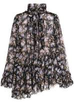 Zimmermann Pussy-Bow Asymmetric Floral-Print Silk-Georgette Blouse