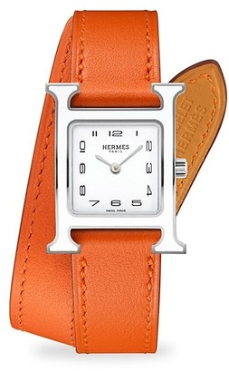 Hermes Heure H 21MM Lacquered Stainless Steel & Leather Strap Watch