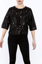 Everly Black Sequin Top