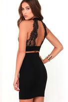 LuLu*s Chic My Interest Black Lace Two-Piece Dress