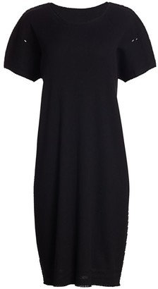 Issey Miyake Frayed Trim Shift Dress