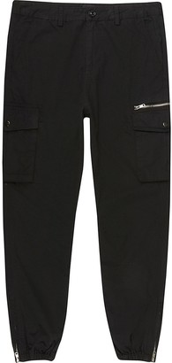 River Island Big and Tall black skinny fit cargo trousers