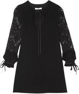 Alexis Maxine lace-paneled crepe mini dress
