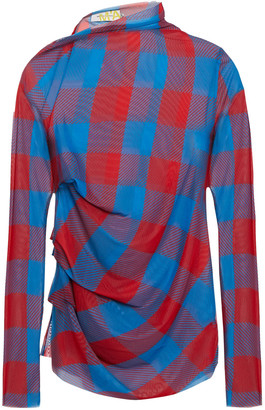 Marques Almeida Ruched Checked Stretch-mesh Top