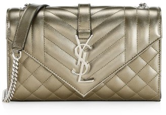 Saint Laurent Small Envelope Monogram Matelasse Leather Shoulder Bag