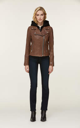 Soia & Kyo ALLISON leather jacket with removable knit hood and bib