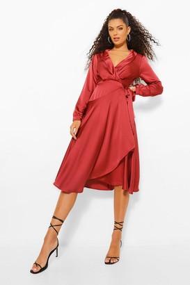 boohoo Wrap Front Satin Maxi Skirt Dress