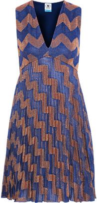 M Missoni Pleated Metallic Jacquard-knit Mini Dress