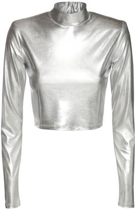 The Andamane Estelle Metallic Jersey Crop Top
