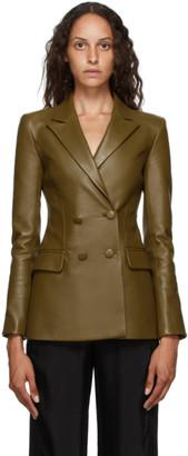 Off-White Khaki Leather Double Breasted Jacket