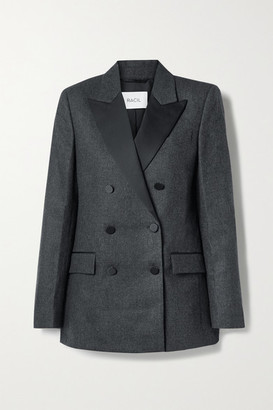 Racil Cambridge Double-breasted Satin-trimmed Wool-blend Blazer - Anthracite