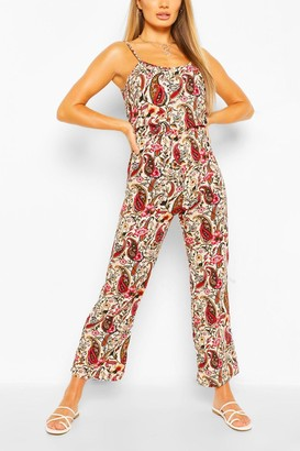boohoo Woven Paisley Print Strappy Cami Jumpsuit