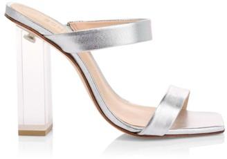 Schutz Saira Clear-Heel Metallic Leather Mules