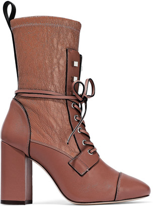 Stuart Weitzman Smooth And Crinkled-leather Ankle Boots