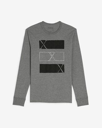 Express Gray Triple Bars Long Sleeve Graphic T-Shirt
