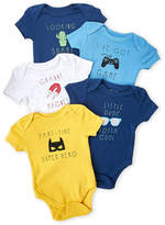 Rene Rofe Newborn Boys) 5-Pack Cool Phases Bodysuits