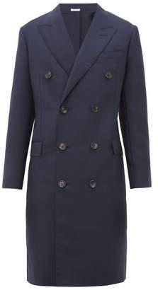 Lanvin Mohair Blend Gauze Double Breasted Overcoat - Mens - Navy