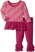Kickee Pants Double Ruffle Outfit Set (Baby) - Winter Rose - 0-3 Months
