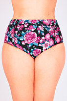 Yours Clothing Pink Floral Print High Waisted Bikini Bottoms