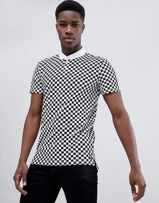 Tom Tailor Polo Shirt in Checkerboard Print-White