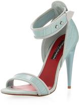 Charles Jourdan Holly Croco Ankle-Cuff Sandal, Sky Blue